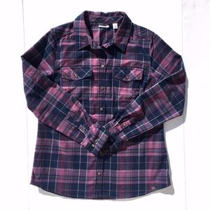 LL Bean Medium Weight Purple Plaid Flannel sz M